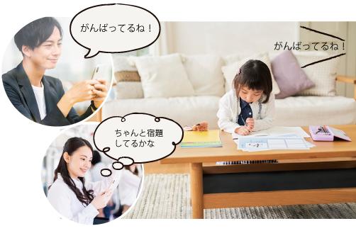 リビングで勉強する子供と見守る両親